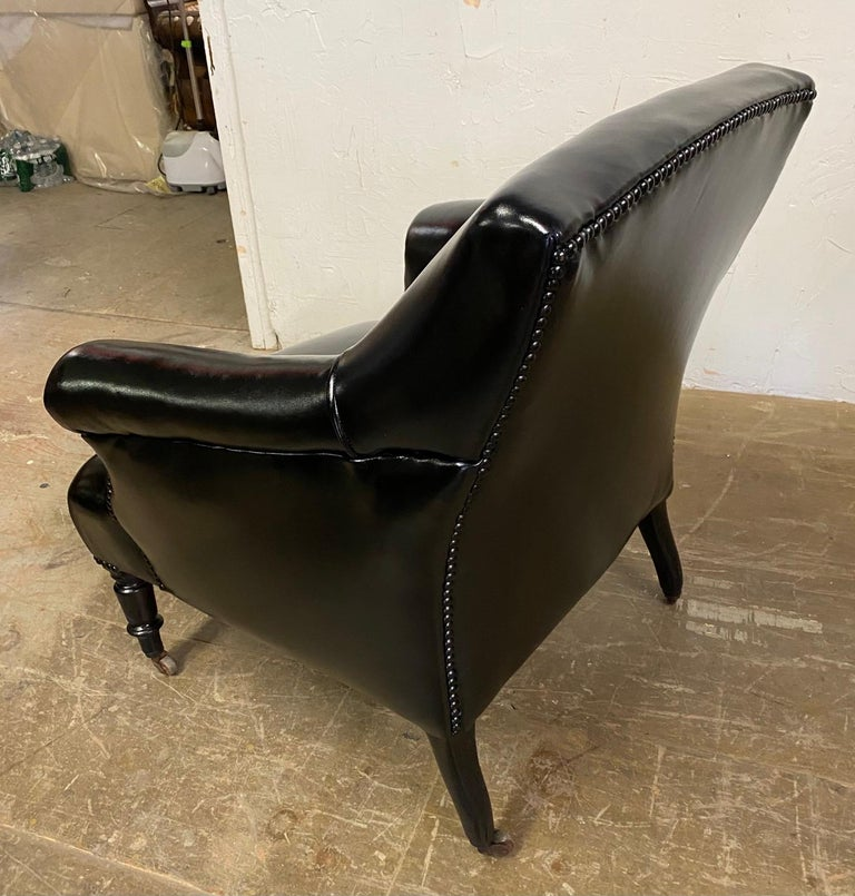 Upholstery Napoleon III Style Leather Upholstered Club Chair For Sale