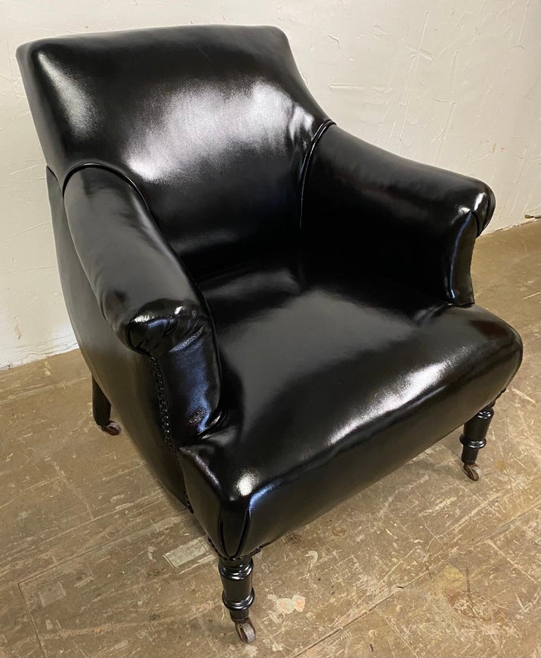 Napoleon III Style Leather Upholstered Club Chair For Sale 3