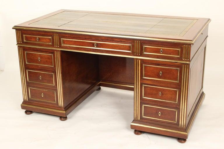 European Napoleon III Style Mahogany Double Pedestal Desk For Sale