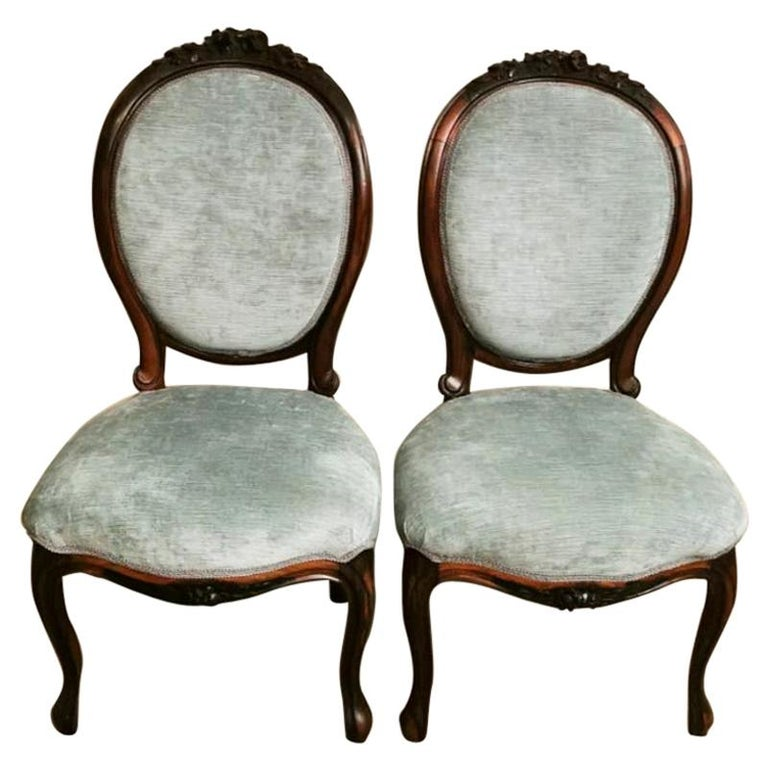 Napoleon III Pair of Carved Mahogany Bedroom Chairs