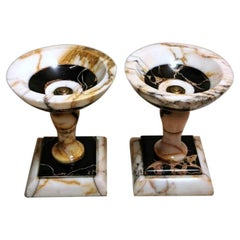 Napoleon III  Pair of French Cassolettes with Siena Yellow and Portoro Marbles