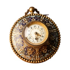 Napoleon III Table Clock Bronze and Champlevé Enamel
