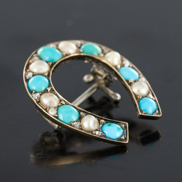 Napoleon III Turquoise Natural Pearl 18 Karat Yellow Gold Horseshoe Brooch For Sale 8