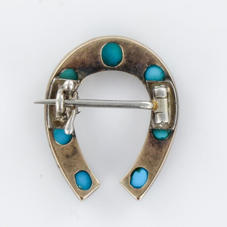 Napoleon III Turquoise Natural Pearl 18 Karat Yellow Gold Horseshoe Brooch For Sale 9