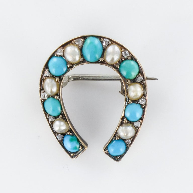 Napoleon III Turquoise Natural Pearl 18 Karat Yellow Gold Horseshoe Brooch For Sale 10