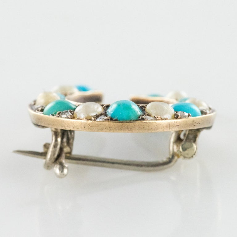 Napoleon III Turquoise Natural Pearl 18 Karat Yellow Gold Horseshoe Brooch For Sale 1