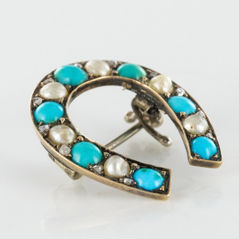 Napoleon III Turquoise Natural Pearl 18 Karat Yellow Gold Horseshoe Brooch For Sale 3