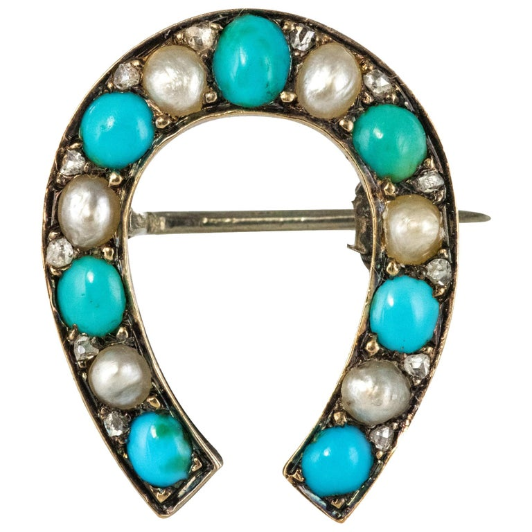 Napoleon III Turquoise Natural Pearl 18 Karat Yellow Gold Horseshoe Brooch For Sale