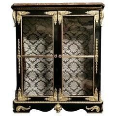 Napoleon III Vitrine Showcase Cabinet Boulle Style, France, 19th Century