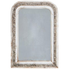 Napoleon III White and Gold Patinated Mirror