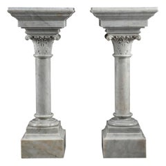 Napoleon III White Marble Column Pedestal Stands