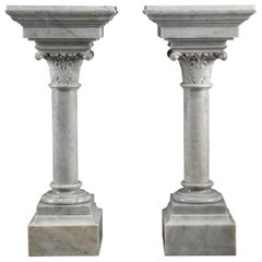 Napoleon III White Marble Column Pedestals