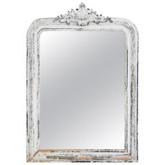 Napoleon III White Patinated Ornamented Mirror