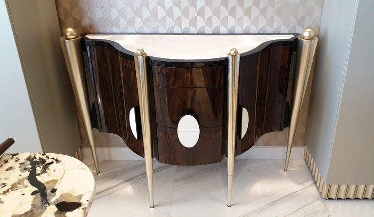 Hand-Crafted 'Napoleon' Marble Top & Lacquer Veneer Console from Egli Design For Sale