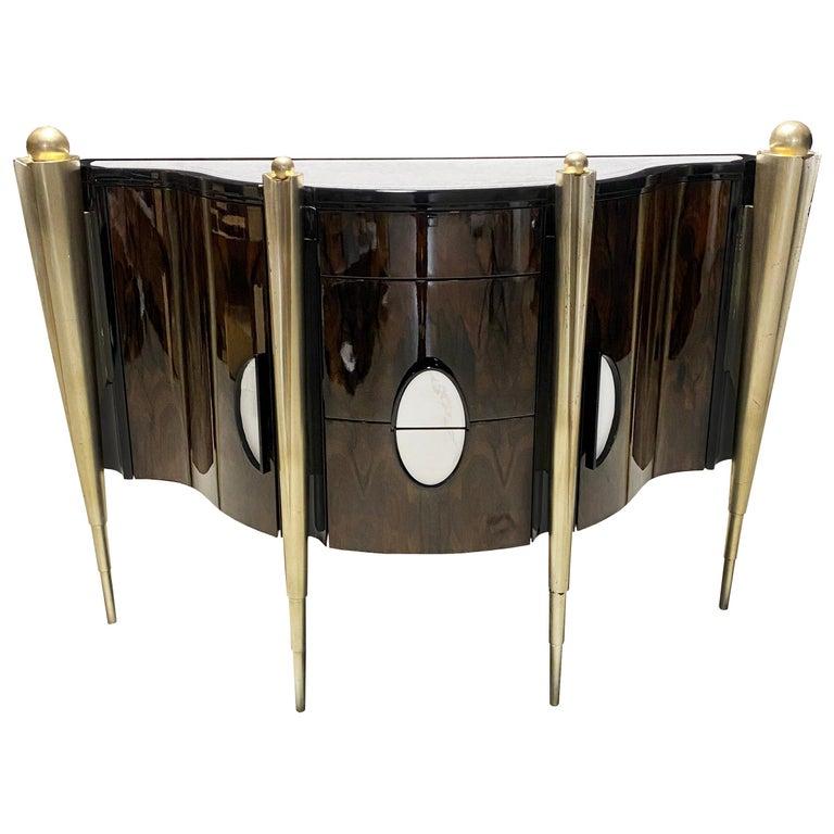 'Napoleon' Marble Top & Lacquer Veneer Console from Egli Design For Sale