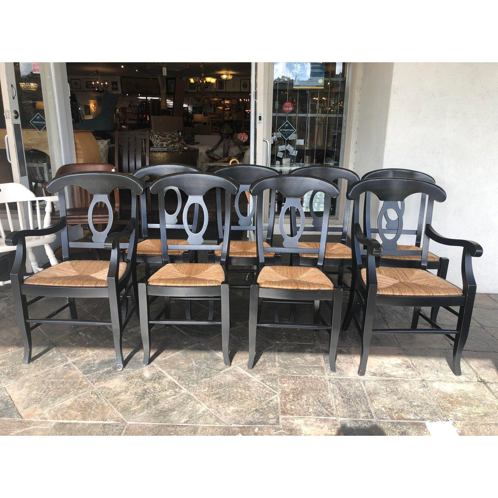 Napoleon Rush Seat Dining Chairs By Pottery Barn, Set Of 8