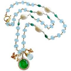 Napoleonic Bee Venetian Glass Intaglio Aqua Chalcedony Emerald Pearl Necklace