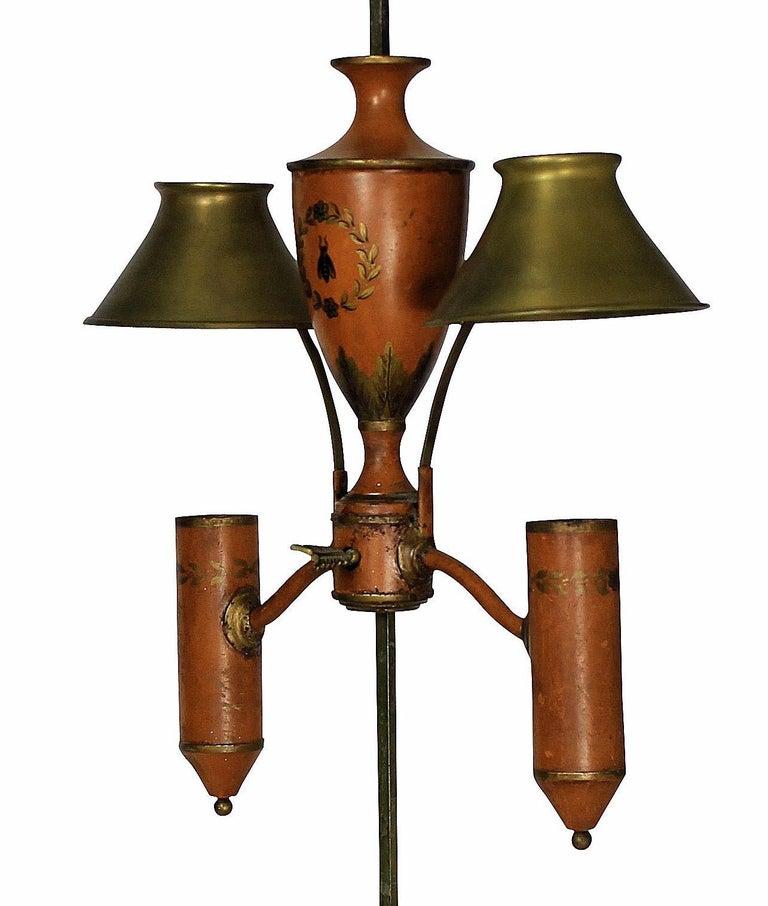 Napoleonic Revival Orange Tole Desk Lamp In Good Condition In London, GB