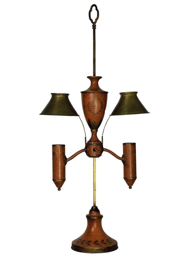 Mid-19th Century Napoleonic Revival Orange Tole Desk Lamp