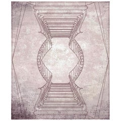 Napoli Contemporary Graphic Dusty Rose Wool and Silk 10x13,4 Rug by Mike Shilov