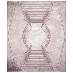 Napoli Contemporary Graphic Dusty Rose Wool and Silk 9x12 Rug by Mike Shilov