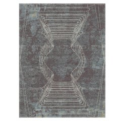 Napoli Fumo - Geometric Bedroom Hand Knotted Wool Silk Rug