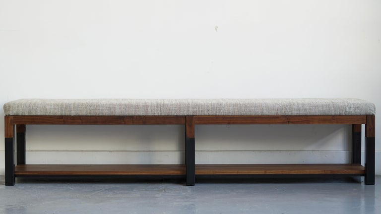 American Nara Bench Modern Walnut and Steel Bench with Upholstered Top For Sale