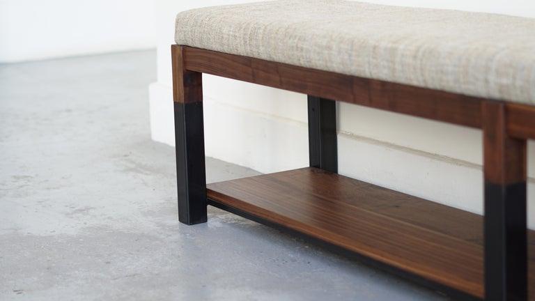 Patinated Nara Bench Modern Walnut and Steel Bench with Upholstered Top For Sale