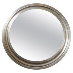 Narciso Mirror by Sergio Mazza, Round Metal Mirror, Italian Wall Mirror
