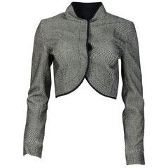 Narciso Rodrigez Black/White Wool Blend Cropped Jacket Sz 6