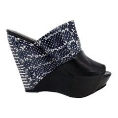 Narciso Rodriguez Python Skin Platform Wedge Sandals, Women's Size US 7.5