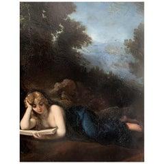 "Narcisse Diaz De La Pena ""Mary Magdalene Reading"" Copper Panel"