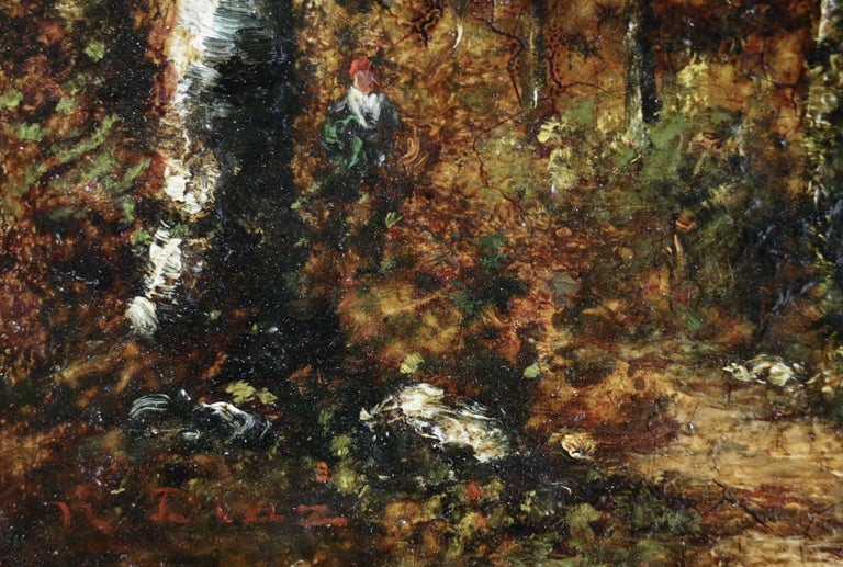 Figure in Forest - Barbizon School Painting by Narcisse Virgile Diaz de la Peña