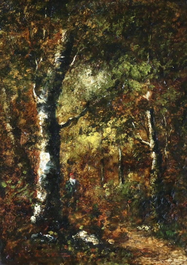 Narcisse Virgile Diaz de la Peña Figurative Painting - Figure in Forest
