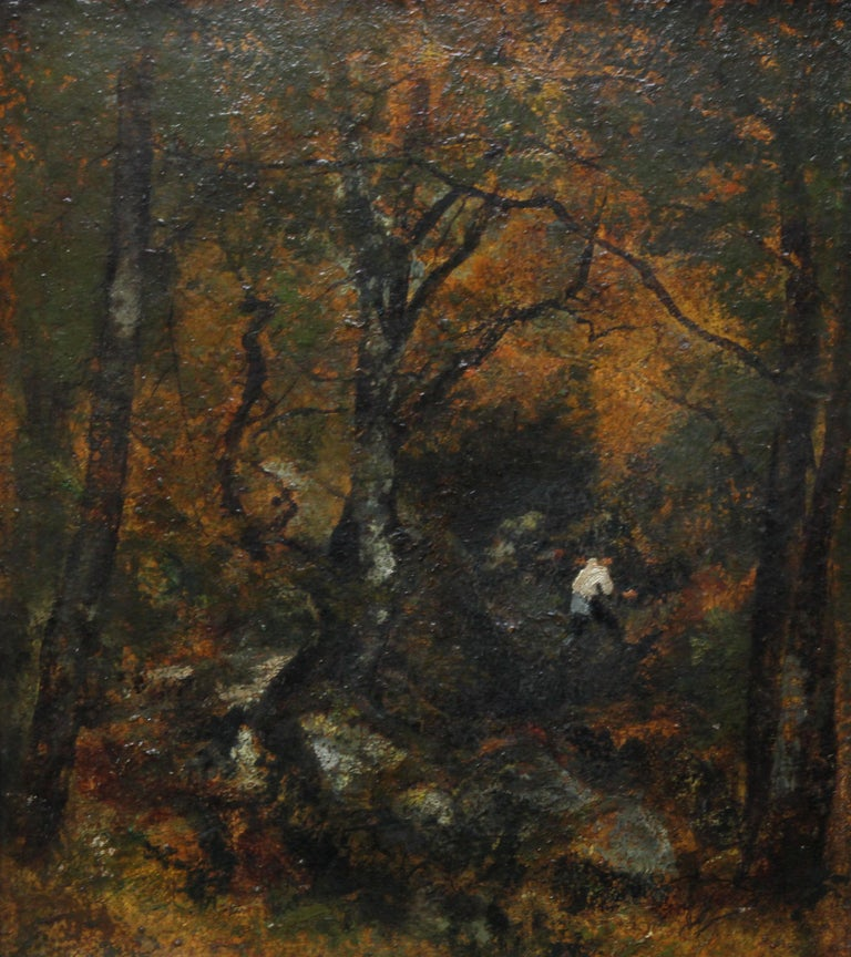 Forest View - French 19thC Impressionist art Barbizon Landscape oil painting For Sale 7
