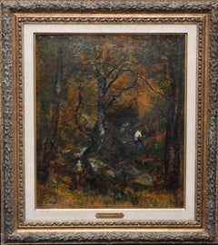 Forest View - French 19thC Impressionist art Barbizon Landscape oil painting
