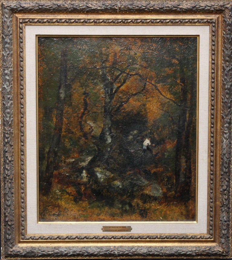 This stunning oil painting on panel is attributed to the much admired and exhibited French artist Diaz de la Pena. As the biography below explains, Diaz was famous for his Barbison School forest scenes such as ours and went to great pains to learn
