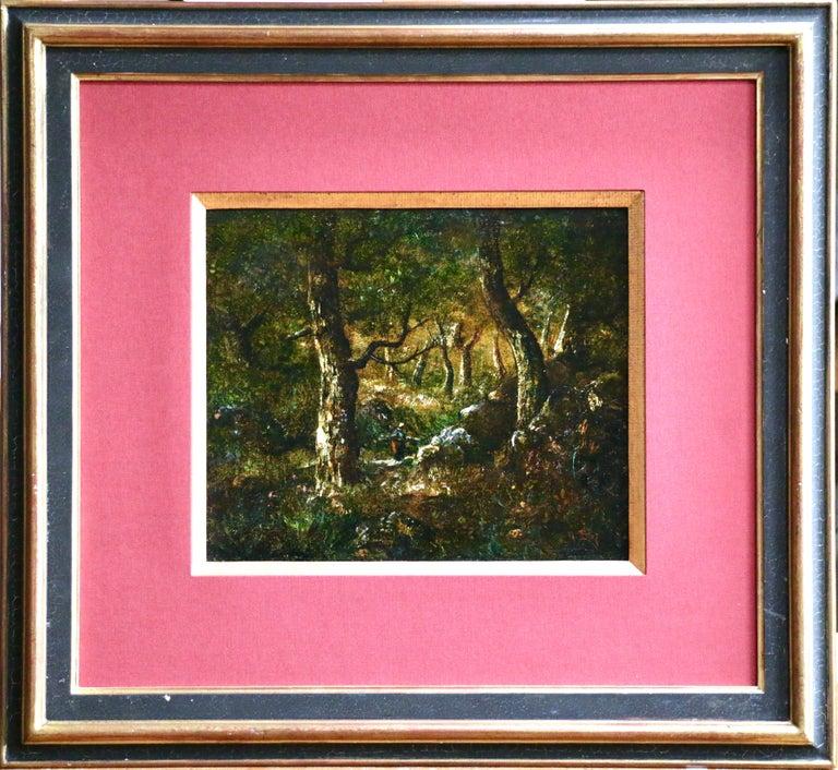In the Forest - 19th Century Barbizon Oil Figure in Landscape by Diaz de la Pena - Painting by Narcisse Díaz de la Peña