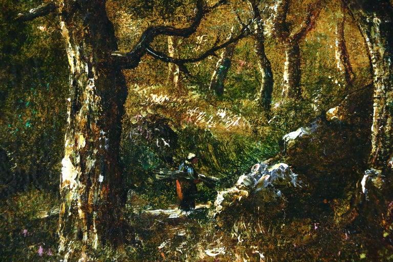 In the Forest - 19th Century Barbizon Oil Figure in Landscape by Diaz de la Pena - Barbizon School Painting by Narcisse Díaz de la Peña
