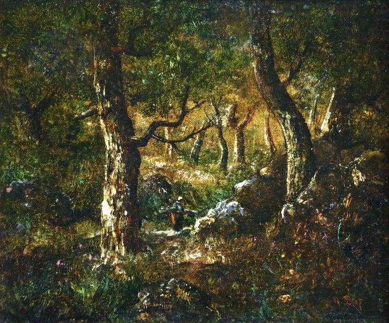 Narcisse Díaz de la Peña Landscape Painting - In the Forest - 19th Century Barbizon Oil Figure in Landscape by Diaz de la Pena