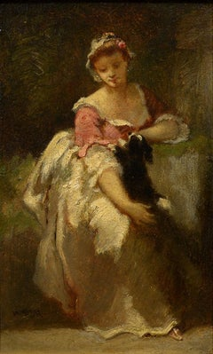 """Lady with Spaniel,"" Narcisse Diaz de la Pena, oil, Barbizon, genre, figural"
