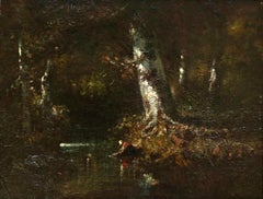 Washerwoman in the Forest - Barbizon Oil, Figure in Landscape by Narcisse Diaz