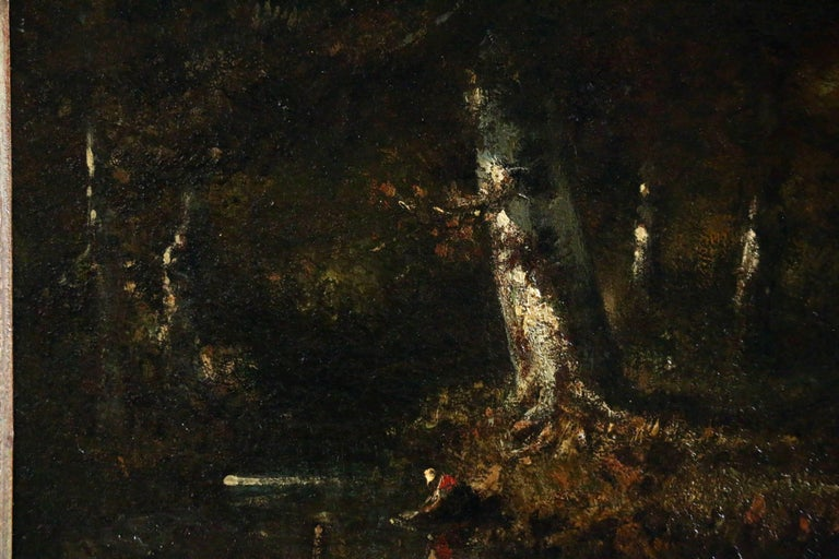 Washerwoman in the Forest - Black Landscape Painting by Narcisse Díaz de la Peña