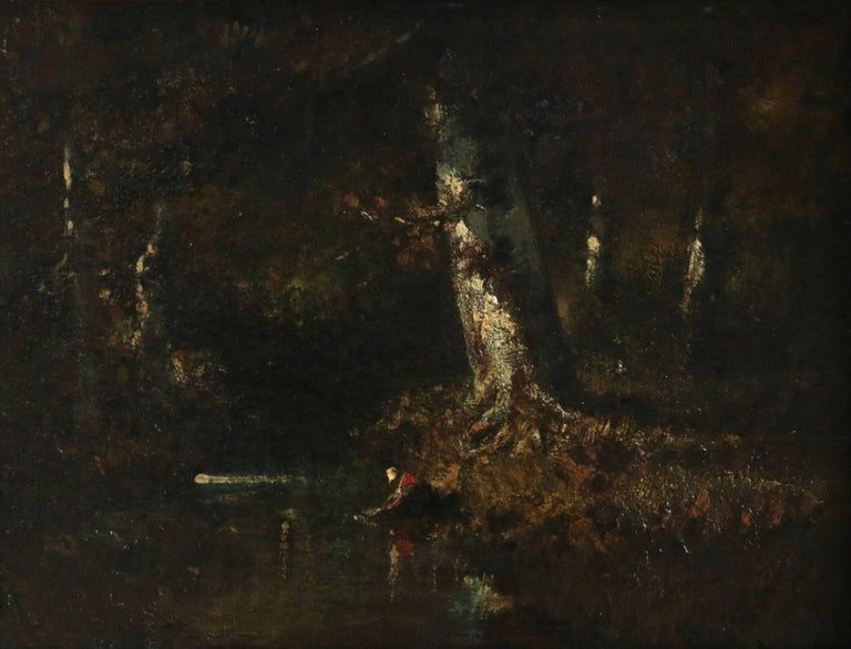 Narcisse Díaz de la Peña Landscape Painting - Washerwoman in the Forest