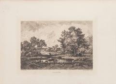 Clairière - Original Etching by N. V. Diaz de la Pena - 1875