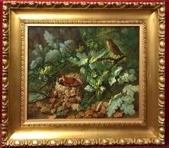 Painting 19th Century - Still-Life Bird Nest in a Busch