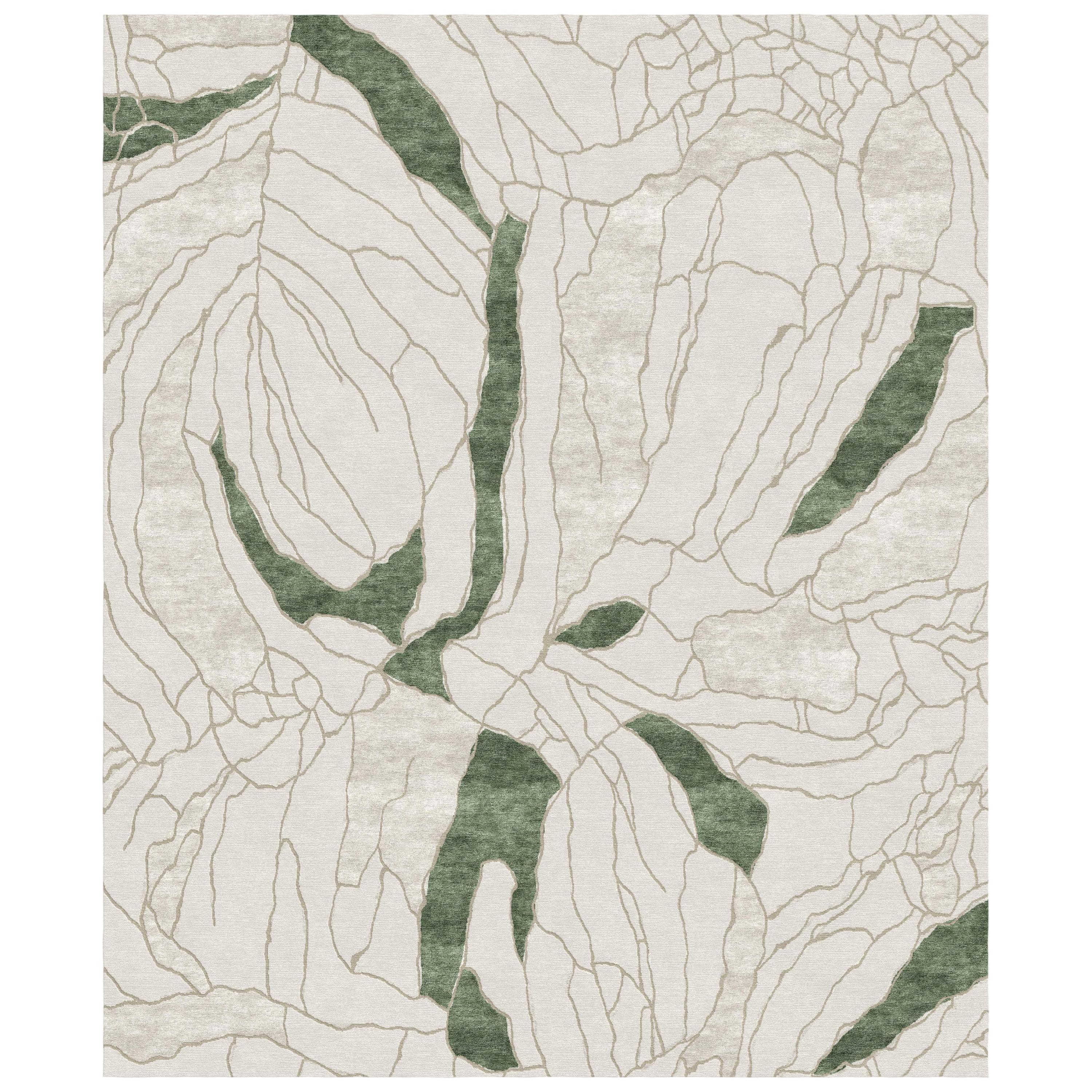 Narcissus - Beige Green Hand Knotted Wool Bamboo Silk Rug