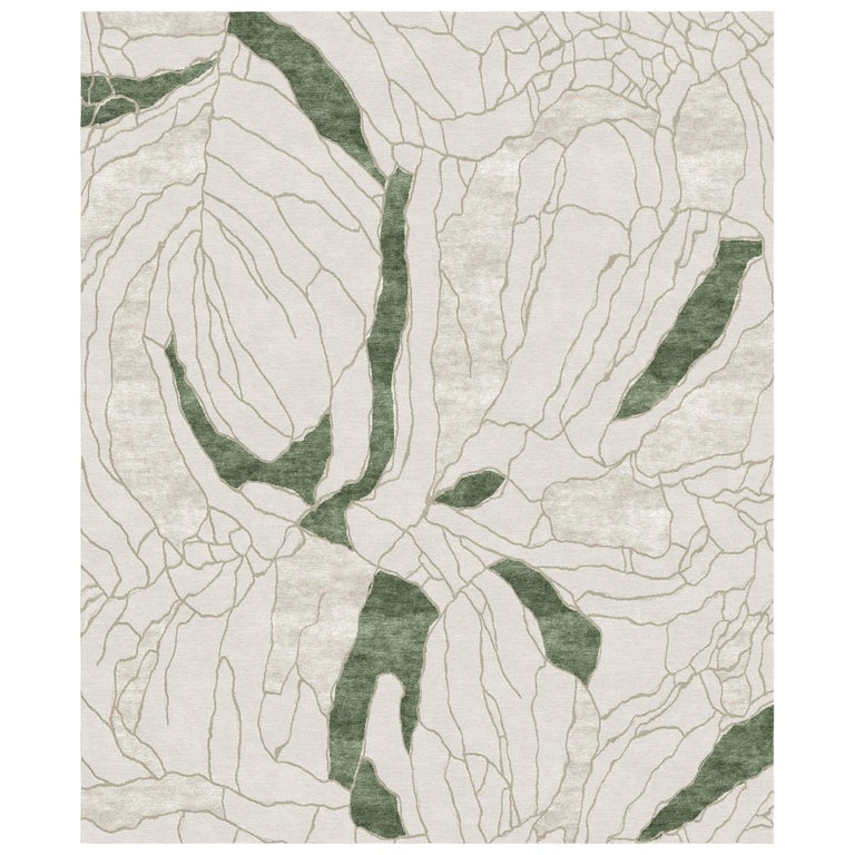 Narcissus - Beige Green Hand Knotted Wool Bamboo Silk Rug For Sale