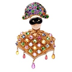 Nardi Arlecchino  Multi-Gem Yellow Gold Lapel Brooch Pin