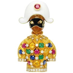 Nardi, Multi-Gem, Enamel and Gold Harlequin Clip Brooch